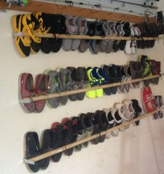 Finally a way to store my son's size shoes. Recommend plexy glass, pl… Finally a way to store my son's size shoes. Recommend plexy glass, plywood, or even a peg board placed behind if you don't want … Shoe Storage Small, Garage Storage, Shoe Storage Ideas For Small Spaces, Wall Shoe Storage, Wall Shoe Rack, Shoe Storage With Crates, Clever Storage Ideas, Shoe Storage Rack, Bedroom Storage
