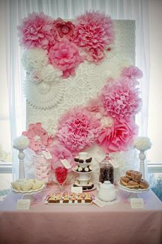 1000 images about baby girl shower party ideas on for Baby shower wall mural