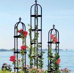 BLACK IRON FRENCH FLEUR GARDEN OBELISK TRELLIS Outoor Garden Decor 2 SIZES