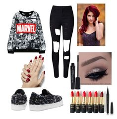 """Marvel Fan-Girl"" by brunettebabes ❤ liked on Polyvore featuring L'Oréal Paris, Marc Jacobs, Smashbox, women's clothing, women, female, woman, misses and juniors"