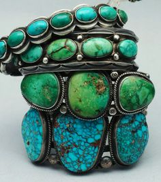 Navajo raw turquoise and silver bangles