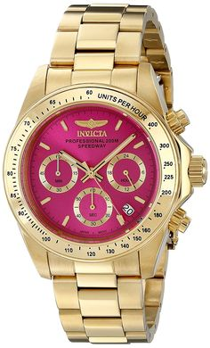 Invicta Womens 18255 Speedway Gold Ion-Plated Watch with Link Bracelet - Pinbay Best Watches For Men, Cool Watches, Casual Watches, Wrist Watches, Link Bracelets, Bracelets For Men, Fashion Bracelets, Armband Swarovski, Cartier