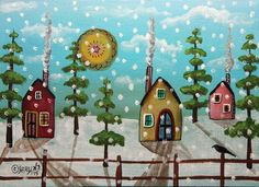 Stormy 5x7inch ORIGINAL Canvas Panel PAINTING Cabins Abstract FOLK ART Karla G ..new painting for sale now... #FolkArtAbstractPrimitiveLandscape