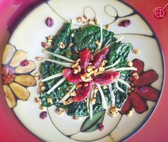 """LUNCH! Warm Dino Kale Salad w/ Blood Oranges, Fennel and Walnuts!  YUMMINY!  Fennel and citrus are good friends!  And you know walnuts and citrus make…"""