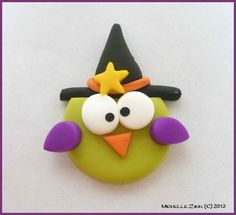 NEW Polymer Clay Bead or Bow Center Wasabi Witch Owl