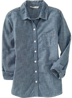 Denim Chambray Shirt - Old Navy  I love that the pocket is so simple!