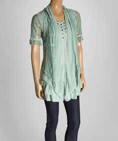 Look at this #zulilyfind! Aqua Ruffle Silk-Blend Blouse by Pretty Angel #zulilyfinds