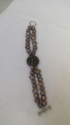 Handmade Bracelet, 2 Strands, Purple Freshwater Pearls with Carved Bone Flower Focal, Swarovski Clasp