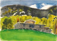 """Fairview, North Carolina, No. 2"" Fairfield Porter, 1964, watercolor with traces of pencil on paper, 10 1/4 x 14"", private collection."