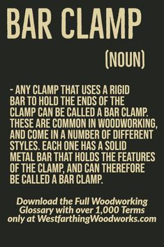 A bar clamp is a useful tool to have in the shop, and it uses a metal bar or spine to create the pressure between two pieces of wood as they are held together. Woodworking Terms, Woodworking Projects, Ring Making, Lathe Tools, How To Make Rings, Linseed Oil, Router Bits, Metal Bar, Wood Rings