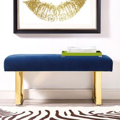 Crank up the glamour with the contemporary Renaud velvet bench on gold legs. It's the perfect blend of modern glam and minimalistic simplicity. Living Room Furniture, Modern Furniture, Bench Furniture, Accent Furniture, Garden Furniture, Blue Velvet Fabric, Navy Fabric, Wood Kiln, Bench Cushions