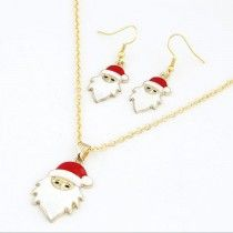 Fashion Chain Jewelry Bib Christmas Gift Necklace Earrings Santa Claus