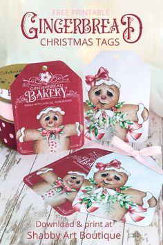 Printable Gingerbread Christmas Tags