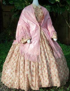 Challis Day Dress with silk mantle c. 1860