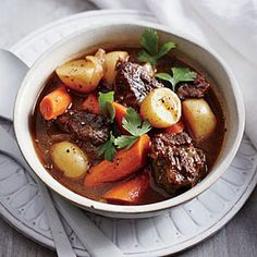 A traditional recipe for hearty beef stew with a base of onions and garlic, deglazed with brown ale, thickened with potatoes, and flavored with Dijon mustard & thyme.