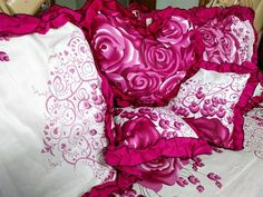 Romantic Bedding Set Double Bed Sheet Cushions and Pillow Cover Cotton Fabric