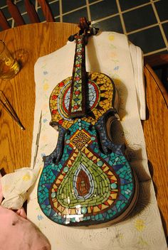 Awesome Mosaic Violin by Rachel K. Jones, via Flickr