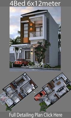 4 Bedrooms Home design plan - Home Design with Plansearch Narrow House Plans, Duplex House Plans, House Layout Plans, Modern House Plans, House Layouts, House Floor Plans, 3 Storey House Design, Bungalow House Design, House Front Design