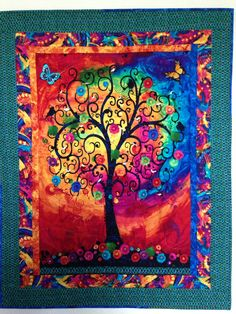Fantasia tree panel embellished by hand with bird fetish, beads and embroidery
