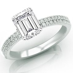 Amazon.com: 0.76 Carat Emerald Cut / Shape 14K White Gold Two Rows Of Pave Set Diamond Engagement Ring ( G-H Color , SI1 Clarity $1,410.00