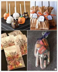 decoration halloween pochon bonbons balai citrouille cake pop sac araignée sachet bonbons gant main Halloween Snacks, Dulces Halloween, Bonbon Halloween, Halloween Movie Night, Soirée Halloween, Bricolage Halloween, Easy Halloween Decorations, Halloween Crafts For Kids, Halloween Birthday