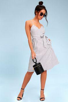 546dd51aaec Black and White Striped Dress - Sleeveless Midi Dress