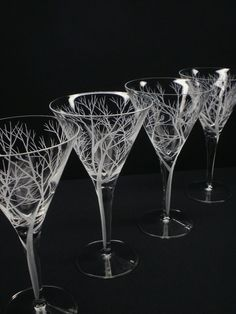Four Martini Glasses  Hand Engraved  'Reaching by daydreemdesigns, $98.00