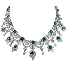 Harry Winston Magnificent Colombian Emerald Diamond Platinum Necklace ❤ liked on Polyvore featuring jewelry, necklaces, platinum necklace, diamond jewellery, pear diamond necklace, platinum jewelry and emerald jewelry