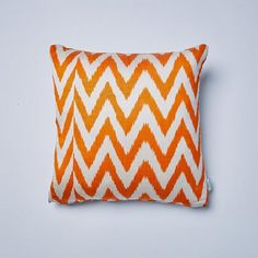 Geometric and bold, the Orange Frankie ikat cushion will add a colourful bliss to your home. Handmade at every stage in Mulberry silk which is hand spun into yarn and then hand dyed and woven into cloth by skilled artisans. Mulberry Silk, Hand Spinning, Bed Furniture, Ikat, Decorating Your Home, Color Pop, Hand Weaving, Cushions, Colours