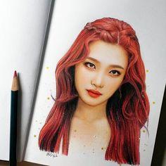sleepy and cold Red Velvet Flavor, Red Velvet Joy, Colored Pencil Portrait, Color Pencil Art, Portrait Sketches, Portrait Art, Kpop Drawings, Art Drawings, Seulgi