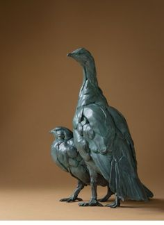 Bart Walter, Blue Gouse, bronze, edition of 6, 18 1/2 x 13 x 14 inches. At the Gerald Peters Gallery, Santa Fe, New Mexico.