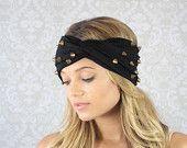 Black Studded Turban – Jersey Studded Turban – Headband with Studs – Black Headband Studded – Hair Wrap with Twisted Center – Headband with Twist