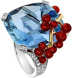 "Piaget / Cocktail ring ""Blue Lagoon"" - White gold, diamonds, aquamarine, fire opals"