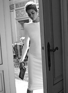 vestido, novia, blanco, cuello caja, minimalista, hombreras bodorrio