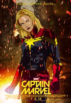 """Captain Marvel.An remix (well not a real remix) of sorts. This is one of my most """"liked"""" pieces ever on here. Reblogged by Wil Wheaton and Kelly Sue DeConnick no less. Last weekend a lot of people asked if I had this print available, which I said, 'no' which led me to revisit this beauty and add the 'official' title with date and even add a cast list credit detail, cuz sure why not make a faux movie poster? This print will be debuting, er…re-debuting next week at Texas Comic Fest with the…"""