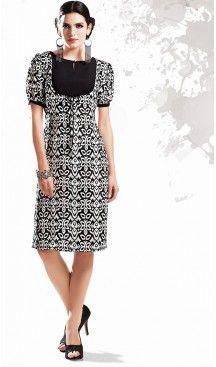 Georgette Fabric Black Straight Type Readymade Kurti | FH460371879
