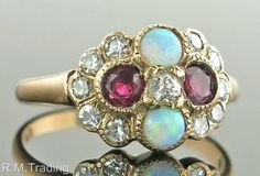 Antique 14k Gold .80ct Genuine Diamond Ruby & Opal Victorian Ring 2.5g $1565