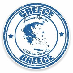 2 x Greece Vinyl Sticker Decal Laptop Car Travel Luggage Greek Map Travel Stamp, Car Travel, Travel Goals, Travel Luggage, Greece Map, Passport Stamps, Custom Stamps, Aesthetic Stickers, Printable Stickers