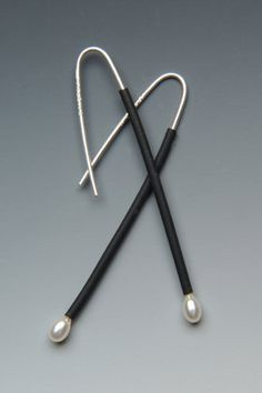 Lonna Keller: Silver & Rubber Earrings - $78