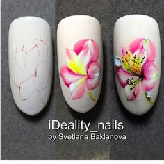 These nail designs happen to be as simple as they are adorable. For anyone who is always looking for ideas and innovative designs, nail art designs are a great way to display your character and to be original. 3d Nail Art, Easy Nail Art, Diy Nails, Cute Nails, Pretty Nails, Spring Nails, Summer Nails, Nail Art Fleur, Gel Nagel Design