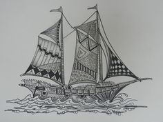 Sailboat Zentangle Art by cre8iveart on Etsy, $10.00