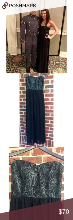 Beautiful Black Gown This floor length ball gown is absolutely stunning with two slits down the sides of the slightly sheer bottom. The top is sequined with beautiful patterns. Not only that but this dress isn't heavy and easy to dance in! In great condition! *cheeper on mmercari Lush Dresses Prom
