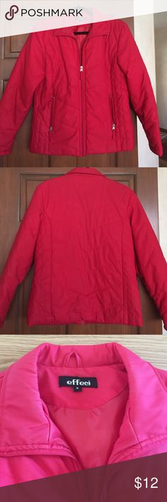 True Red light Weight Jacket Light weight jacket by Effect. Size Medium. Front zipper and side zip pockets. Stylish stitched detail. Red lining. Right inside lining of pocket needs to be stitched. Otherwise perfect condition. Effect Jackets & Coats