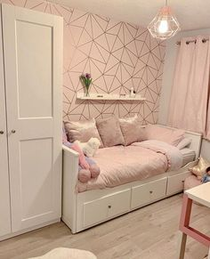 Girls Room Decor Ideas to Change The Feel of The Room - EnthusiastHome Ikea Girls Bedroom, Girls Bedroom Wallpaper, Bedroom Decor For Teen Girls, Cute Bedroom Ideas, Girl Bedroom Designs, Room Ideas Bedroom, Small Room Bedroom, Kids Room Wallpaper, Girl Bedrooms