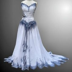 Corpse Bride - Offered here is an homage to Tim Burton's brilliance! A stunning hand painted one of a kind wearable art wedding gown