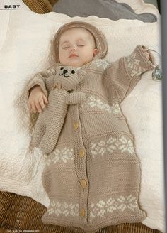 Baby sleeping bag...this would be kind of easy to make from an old cardigan.