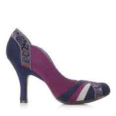 Ruby Shoo Size 9 Womens Tonal Purple Navy Blue Ribbon Effect High Heel New Sexy #RubyShoo #PumpsClassics #Formal