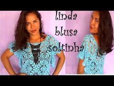 Blusa Soltinha em Crochê - YouTube Crochet Box, Crochet Squares, Crochet Stitches Chart, Crochet Patterns, Granny Pattern, Summer Patterns, Crochet Blouse, Crochet Videos, Sweater Shirt