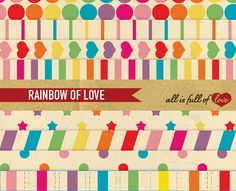 Digital Paper Pack RETRO Rainbow Love by AllFullOfLove on Etsy, $3.50