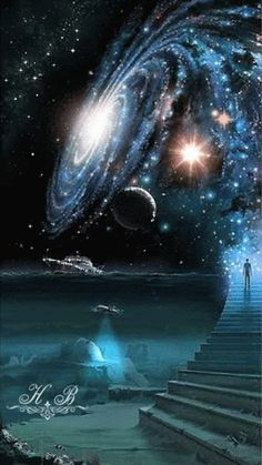Universe Astronomy Earth's Sky in 5 billion years when Andromeda closes in on the Milky Way Galaxy as the Collision begins. Planets Wallpaper, Wallpaper Space, Galaxy Wallpaper, Painting Wallpaper, Nature Wallpaper, Art Galaxie, Fantasy Kunst, Space And Astronomy, Galaxy Art